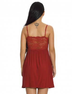 Women Wine Red Modal Floral Lace Chemises Deep V-Neck Nightwear
