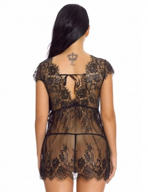 Expensive Black Plunging Neck Babydoll Lingerie With Thong Inexpensive Online