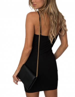 Gracious Black Spaghetti Straps Mini Pencil Dress Bowknot For Sexy Women