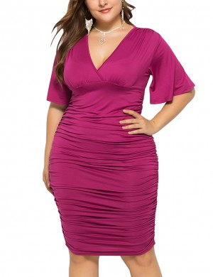 Exquisite Purple V Neck Queen Size Tight Dress Ruched Romance