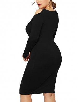 Cheeky Black Cold Shoulder Large Size Dress Full Sleeves Breathable