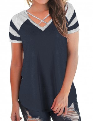 Loose Fit Navy Blue Blouses Crossover V-Neck Contrast Color Stitching