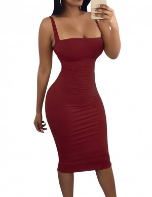 Super Trendy Red Ring Tie Behind Bodycon Midi Dress Comfort Fit