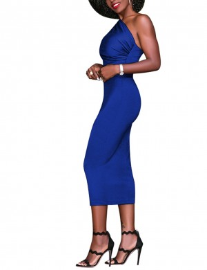 Brightly Blue Asymmetrical Pleated Midi Tight Dress Romance
