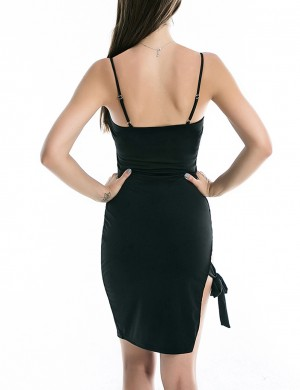 Unique Black Side Knotted Dress Mini Length Seamless