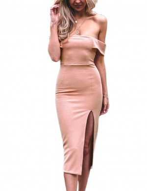 Incredible Pink Low Strapless Dress With Side Split Heartbreaker