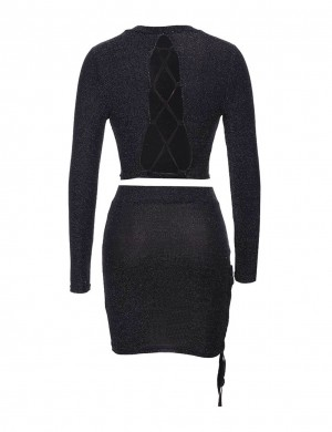Elegant Black Lace-Up Mini Two Ways Wear Dress Suit Full Sleeves
