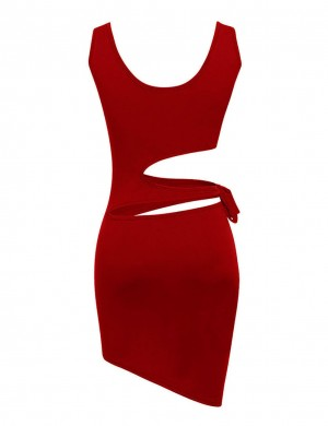 Nicely Red Knotted Waist Tight Mini Dress Forward Women