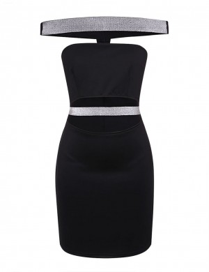 Beautifully Designed Black Bronzing Rubber Band Bodycon Dress Off Shoulder