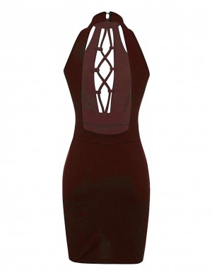 Smooth Wine Red Open Back Tight Dresses Mini Length Shop Online