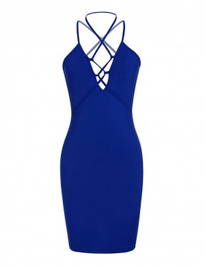 Glamorous Sapphire Blue Front Multiple Straps Tight Dresses Backless