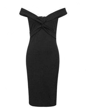 Dramatic Black Cross-Knotted Bodycon Dress Word Shoulder Feminine Trend