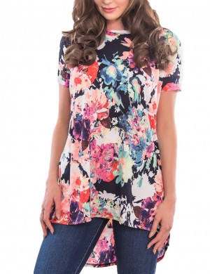 Astonishing Ruched Floral Print Tops Short Sleeve Women's Apparel