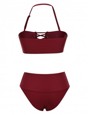 Beach Time Wine Red Ribbed Tube Two Pieces Swimsuit Mid-Waist Outfit