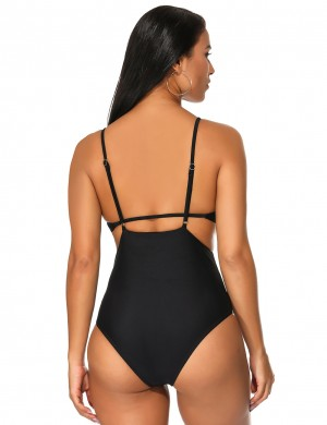 Pretty Black Padded Strappy Monokini High-Waisted Beachwear Holiday Fashion