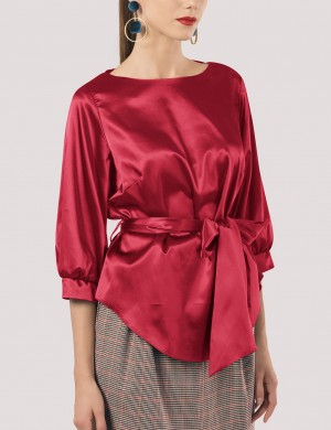Soft Red Unsymmetrical Hem Blouse Puff Sleeve Leisure Wear