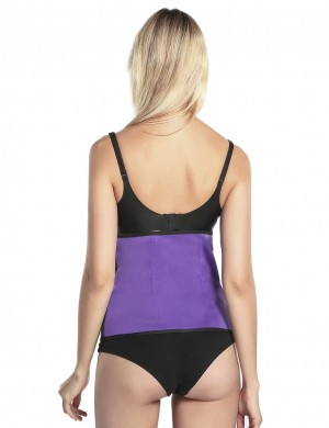 Body-Hugging Purple Large Size Zip And Hooks Waist Shaper Neoprene Chic Online