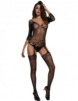 Blossom Couture Black Lace 3/4 Sleeves Bodystocking Fishnet Lingerie