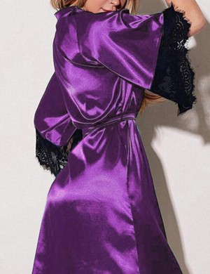 Reversible Purple 3 Pieces Plus Size Satin Lace Nightgown V-Neck Skinny Figure