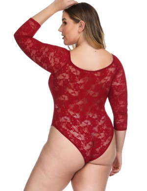 Ravishing Red Full Sleeves Plus Size Teddy Floral Lace All Over Comfort