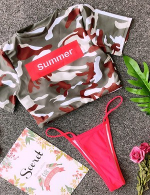 Individualized High Cut Legs Camouflage Bikini Letter Pattern Seamless