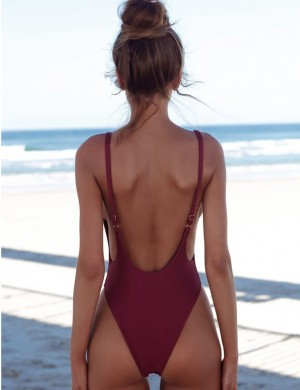 Refreshing Adjustable Straps One Piece Swimsuit High Cut Feminine Charm
