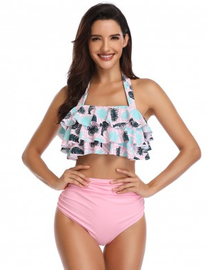 Honeymoon Pink Flounce Halter Neck Bikini Leaf Pattern Going Out Outfits