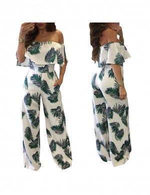Eye Catcher Green Printing Wide Legged Romper Off The Shoulder For Strolling