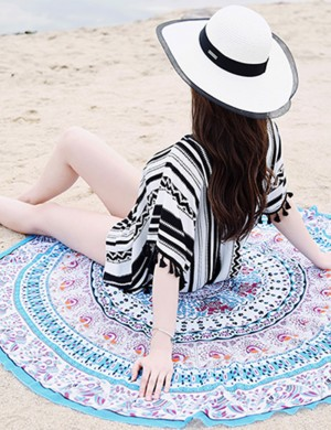 Beach Party Time Black Stripes Swimwear Cover Up V-Neck Tassel High Elasticity
