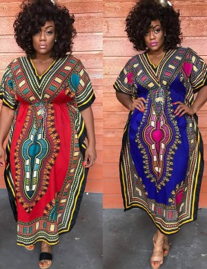 Remarkable Blue African Tribe V-Neck Maxi Dress Empire Waist Natural Women
