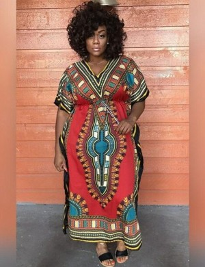 Nicely Red African Printed Maxi Dress Short Sleeves Female Charm