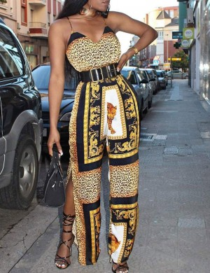 Beautiful Yellow Tribal Leopard Print Jumpsuit Spaghetti Straps For Upscale