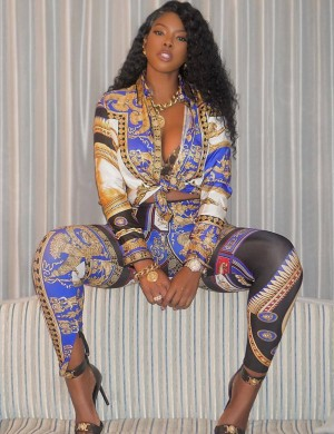 Dramatic Blue African Printing Two Pieces Outfit Long Sleeves Confidence