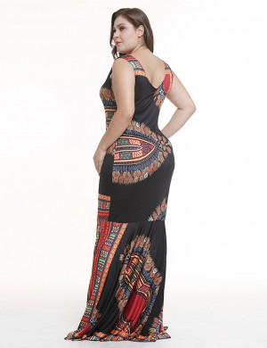 Colorful Black Tribe Print Full Sleeves Maxi Dress Scoop Neck Leisure