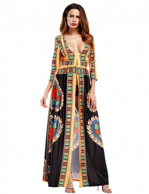 Amazing Black Bohemian 3/4 Sleeve Maxi Dress Deep V-Neck Ideal Choice