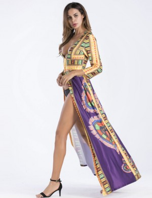 Classy Purple Plunging Neck Tribe Maxi Dress Front Slit Superior Quality