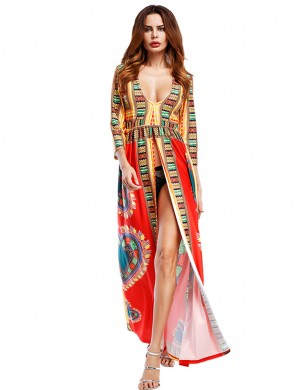 Unique Red African Long Slit Maxi Dress 3/4 Sleeves Quick Drying