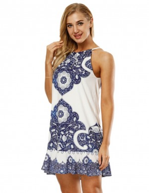 Delightful Navy Blue Digital Print Flare Mini Dress Sleeveless Fashion