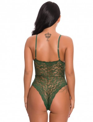 Stretch Dark Green Floral Lace Teddy Spaghetti Straps Bow Intimate Fashion