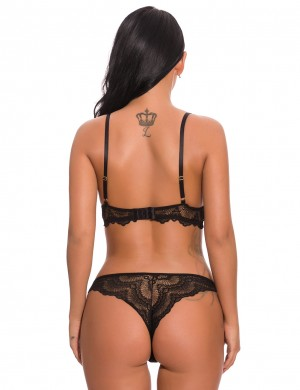 Captivating Black Scalloped Lace Bralette Set Low Waist Super Soft