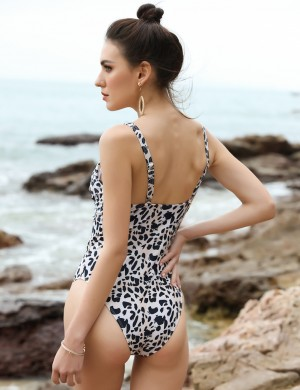 Large Bust Leopard Print One Piece Swimsuit Large Size Crisscross Womens
