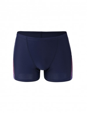 Glossy Dark Blue Drawstring Men Briefs Square Cut Leg Romance Time