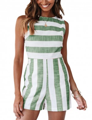 Eye-Appealing Green Non-Sleeves Bateau Neckline Jumpsuit Breathable