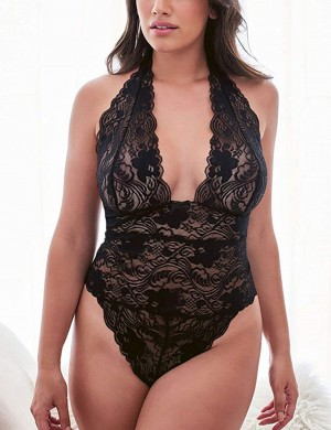 Inviting Black Mesh Floral Plunge Neck Big Size Teddy