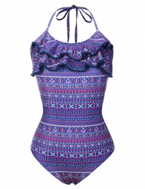 Pretty Purple Frilled Halter Family Swimsuit Geometric Pattern Romance