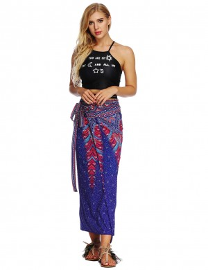 Striking Sunscreen Maxi Beach 1 Piece Skirt Print Ladies Elegance