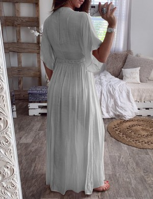 Stunning Grey Midi Sleeves Cardigan Ruched Dress Fashion