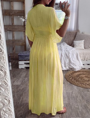 Holiday Plain Yellow Cardigan Waist Slim Dress Womens