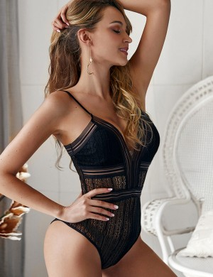 Glaring Black Deep V Neck Bodysuit Slender Straps Female Clothing