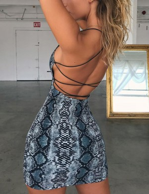 Sexy Blue Serpent Print Bodycon Dress Strappy Leisure Wear